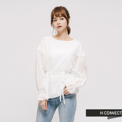 H:CONNECT 韓國品牌 女裝 - 氣質縮袖棉質上衣 - 白