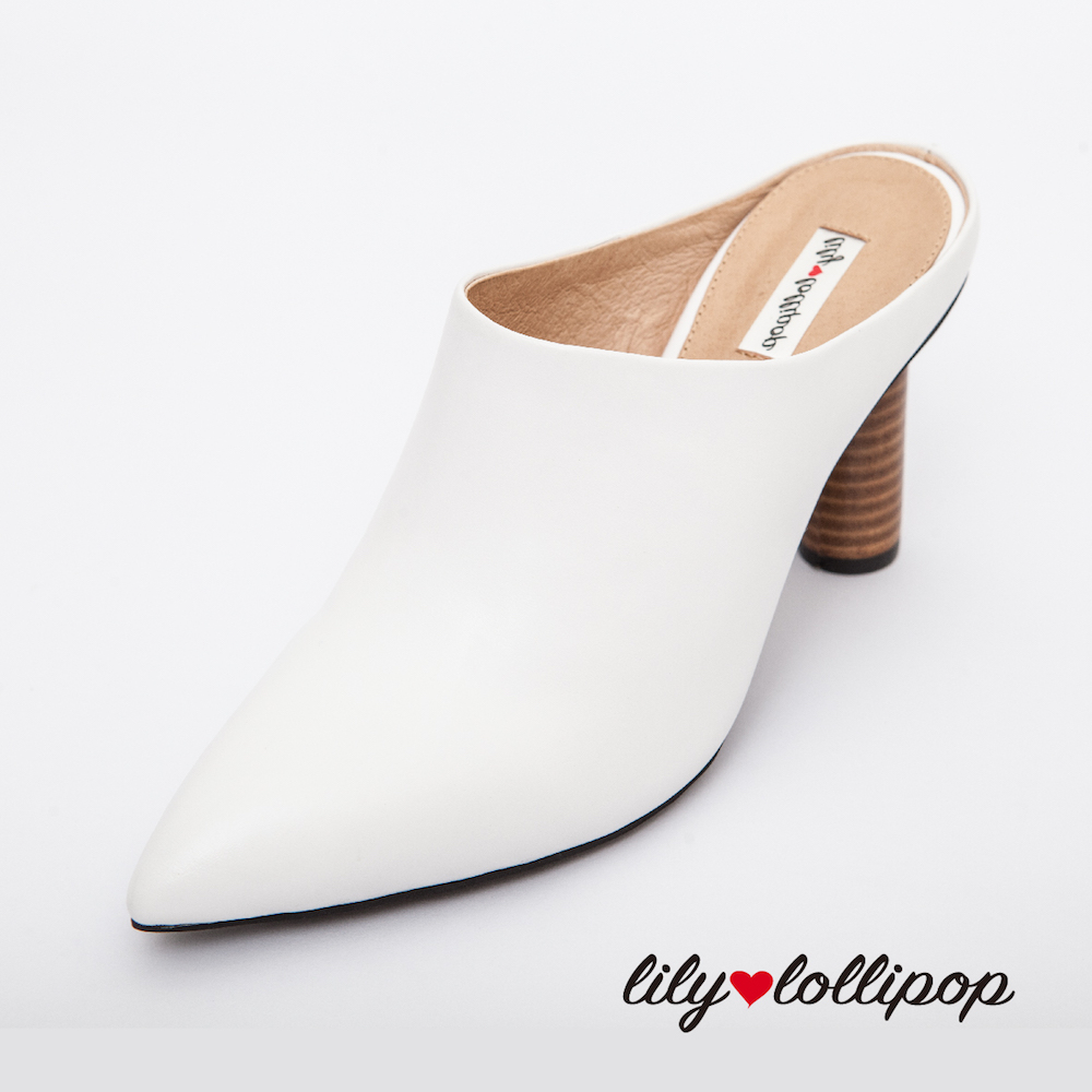 Lilylollipop Maisie真皮穆勒木頭高跟鞋--白色