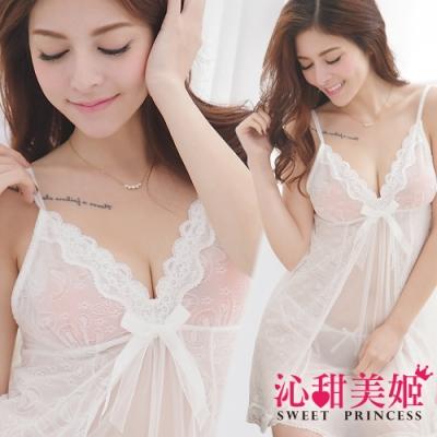 奢華網紗睡衣裙組 細肩帶深V美胸+幾何繡花雙層裙擺 沁甜美姬(白)