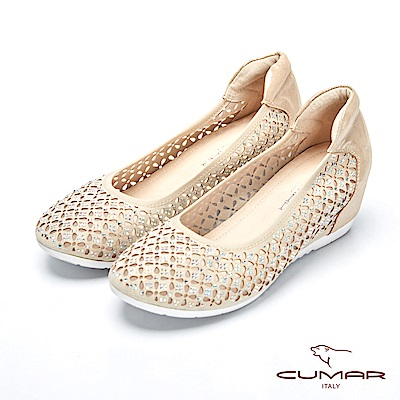 CUMAR璀璨閃耀-雷射沖孔鏤空水鑽內增高包鞋