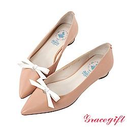 Disney collection by grace gift蝴蝶結愛心低跟尖頭鞋 粉