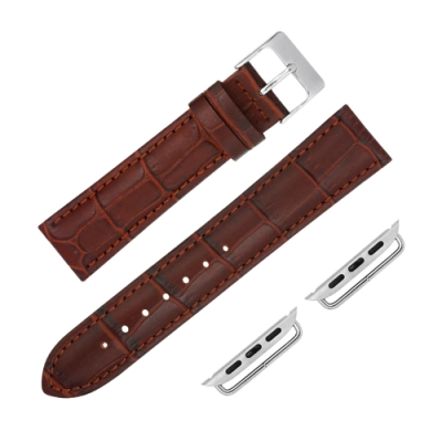 Apple Watch 蘋果手錶替用錶帶 柔軟壓紋 真皮錶帶-紅棕色