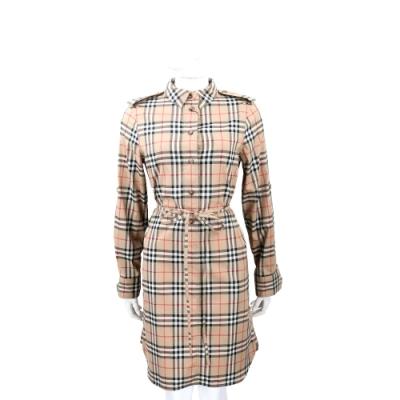 BURBERRY Vintage 格紋彈性棉抽繩襯衫式洋裝(典藏米色)