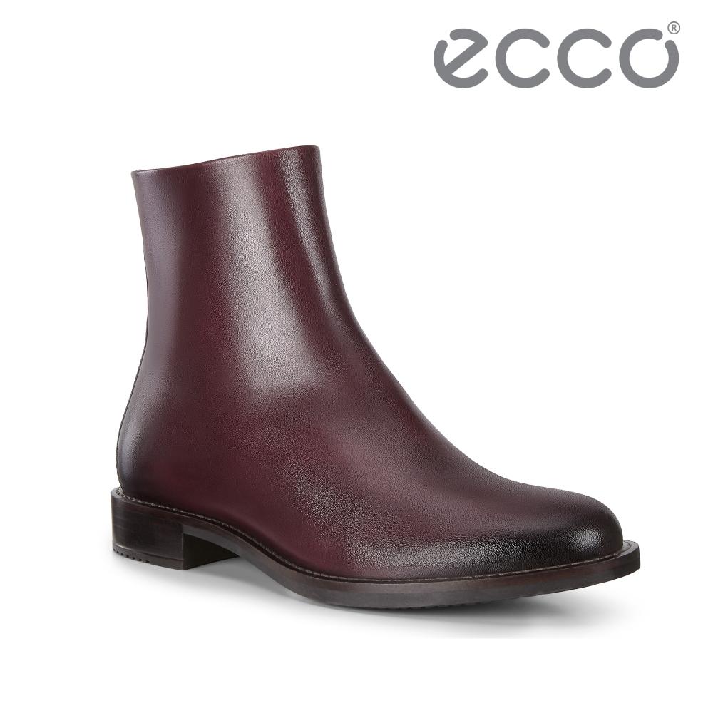 ECCO SARTORELLE 25 時尚刷染皮革低跟中筒靴 女鞋 酒紅色
