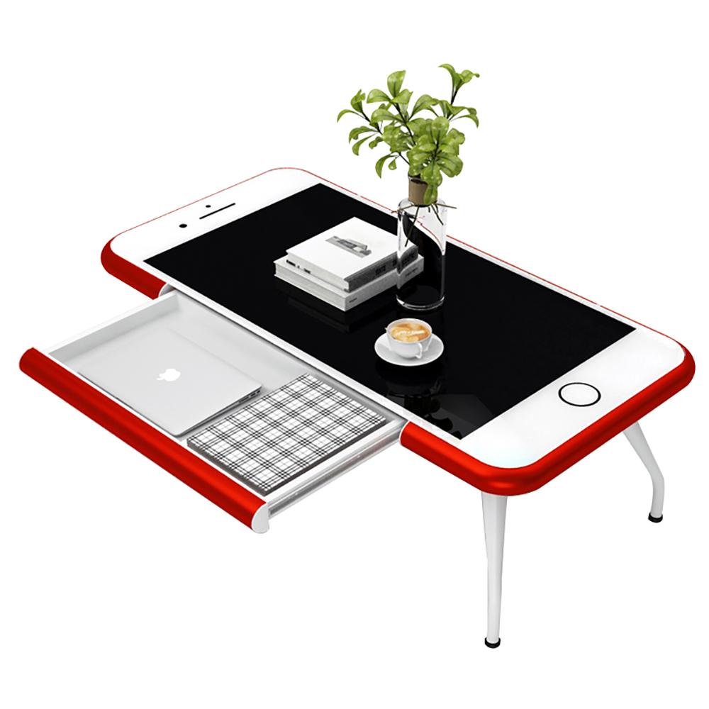 【日居良品】蘋果Iphone 造型強化玻璃茶几/