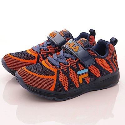 FILA頂級童鞋款 編織電燈鞋款 EI27R366藍橘(中小童段)0