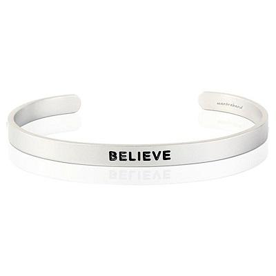 MANTRABAND Believe 美國悄悄話手環 激勵箴言寬版銀色手環