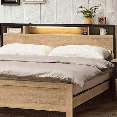 文創集 藍柏頓6尺木紋雙人加大床頭片(不含床底)-188.2x11.8x91.2cm免組