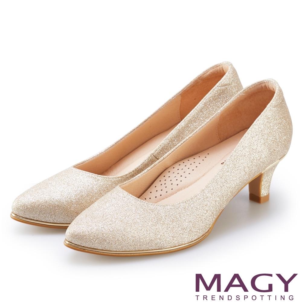 MAGY 閃爍鑲金花嫁 女 中跟鞋 金色