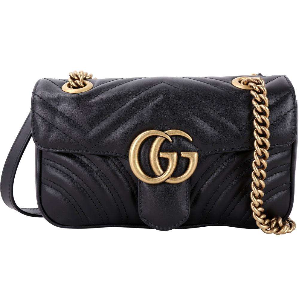 GUCCI GG Marmont 山型車縫線皮革雙鍊肩背包(黑色)