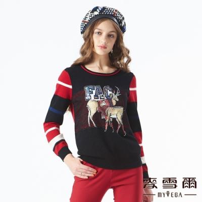 【麥雪爾】羊毛亮片字母小鹿印花針織衫