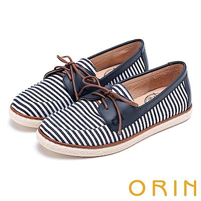 ORIN 海洋渡假風 條紋質感拼接平底休閒鞋-藍色