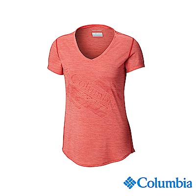 Columbia 哥倫比亞女款-野跑UPF15快排短袖上衣-橘紅 UAR26590