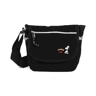 《Marimo》SNOOPY文字織帶鑲飾棉布郵差包/斜背包(黑)