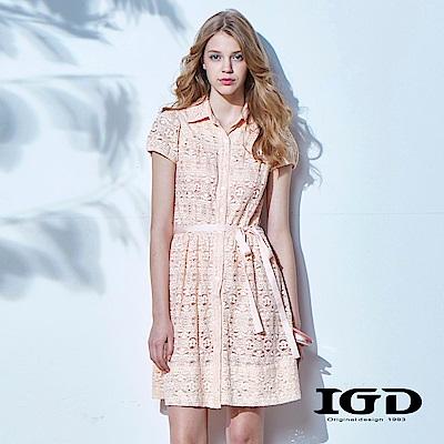 IGD英格麗 優雅蕾絲綁帶洋裝-粉橘