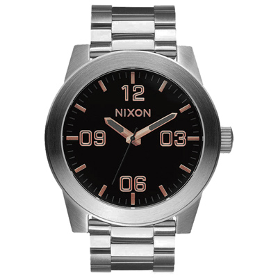 NIXON The CORPORAL SS 曠野風潮時尚運動腕錶-玫瑰金x黑x銀/48mm