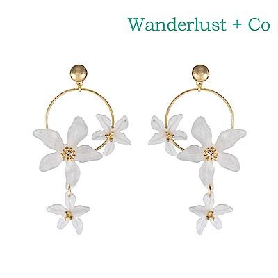 Wanderlust Co澳洲時尚品牌LUCIA HOOP百合花系列鑲鑽垂墜圓環耳環