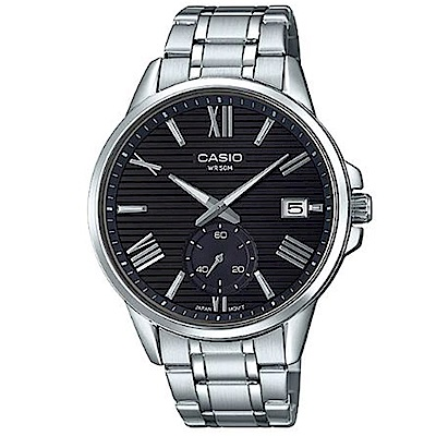 CASIO 羅馬簡約時尚橫條紋設計不鏽鋼腕錶(MTP-EX100D-1)黑面/43.8mm