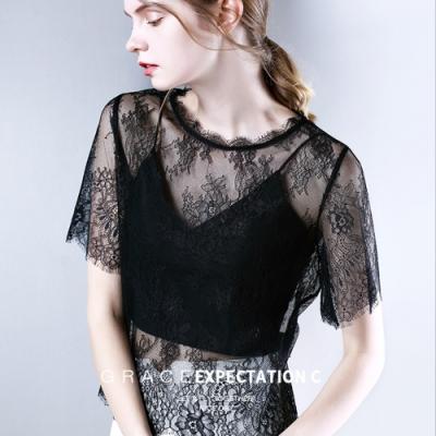 專注內搭-短袖T恤寬鬆蕾絲衫性感上衣罩衫(二色S-2XL可選)