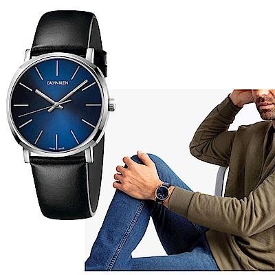 Calvin Klein CK紳士簡約三針皮帶腕錶(K8Q311CN)40mm
