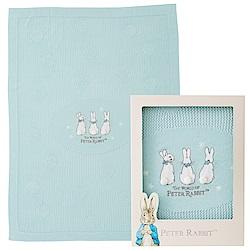 奇哥 恬靜比得兔洞洞棉毯禮盒-藍綠