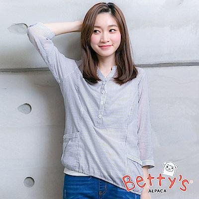 betty's貝蒂思 輕巧條紋半開襟微透膚襯衫(淺灰)