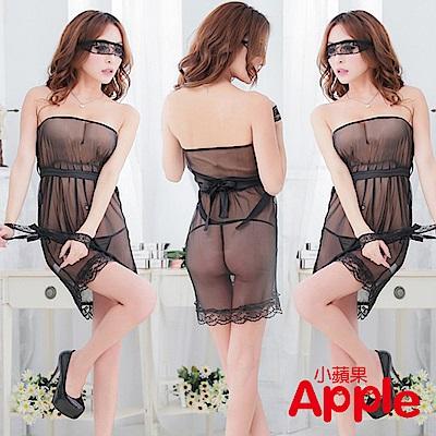 APPLE 黑色绑帶蕾絲性感睡裙 AQ074