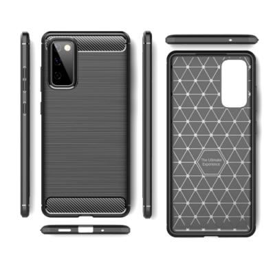 TOTOMO For: 三星S20FE 手機殼時尚碳纖紋路+抗指紋-精緻黑