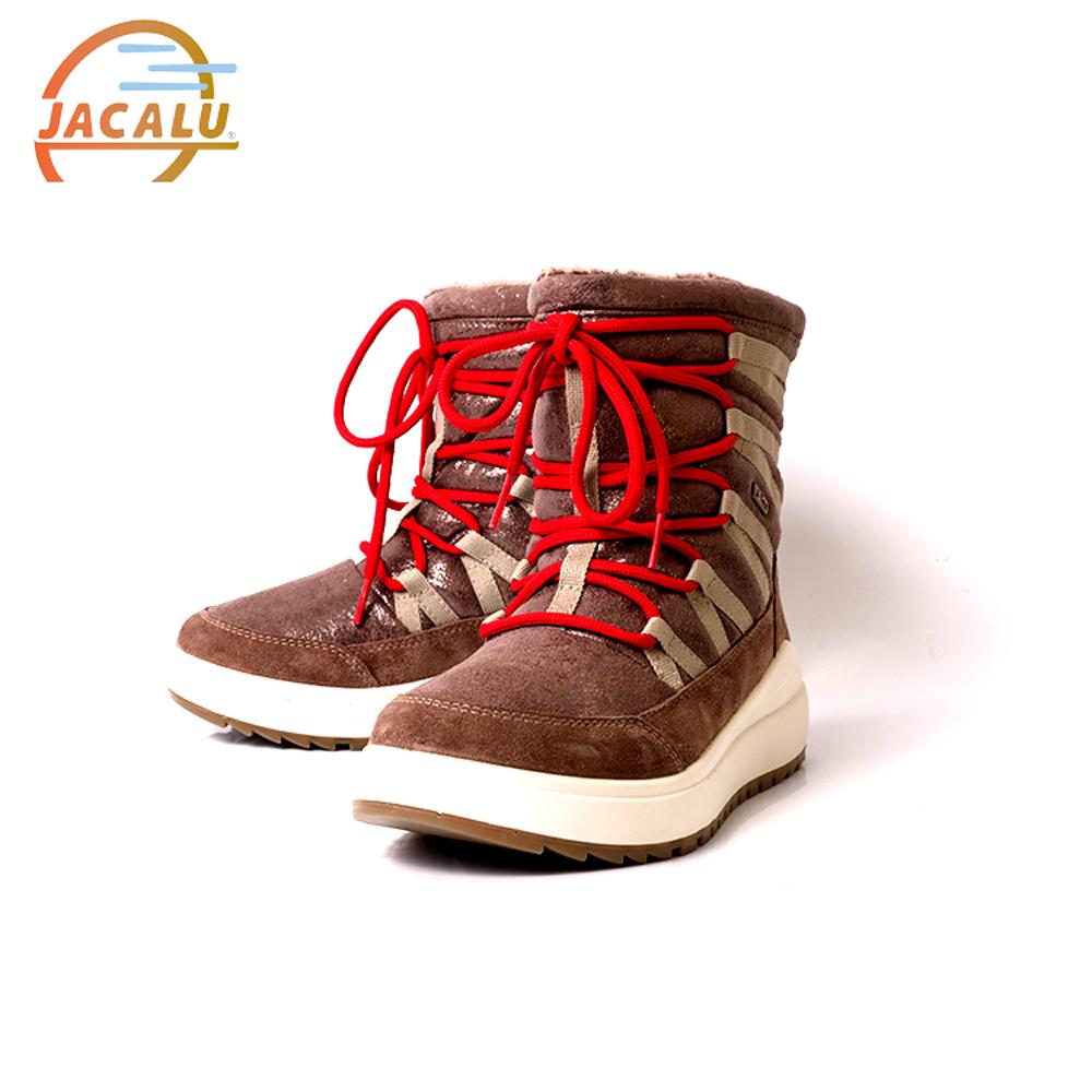 Jacalu 中筒亮面麂皮織帶雪靴6331.3/J 灰褐