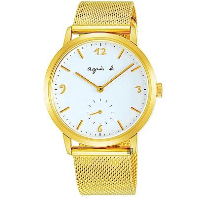 agnes b. 海外限定法式米蘭帶石英錶(BN4008X1)-白x金/43mm