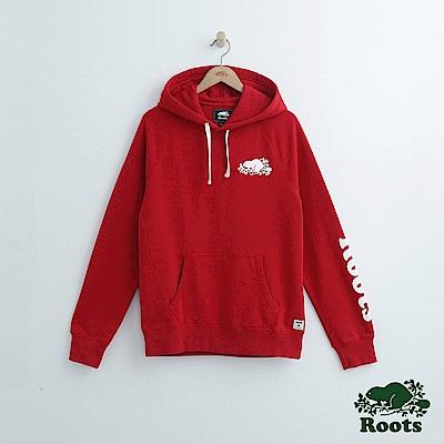 Roots 男裝-左臂字標連帽上衣-紅色