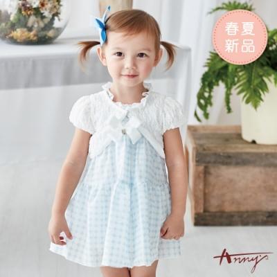 Annys安妮公主-白玉波點蕾絲領蝴蝶結春夏款背心洋裝*9520水藍