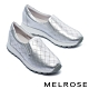 休閒鞋 MELROSE 率性迷人璀璨晶鑽全真皮厚底休閒鞋-銀 product thumbnail 1