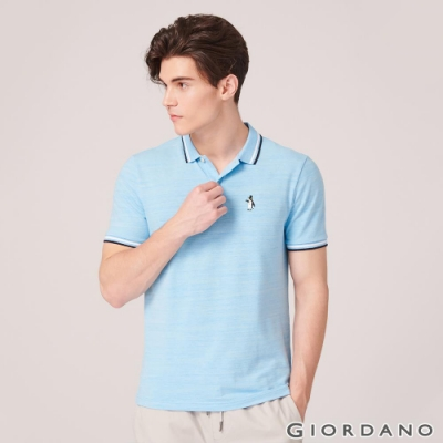 GIORDANO 男裝企鵝刺繡彈力萊卡POLO衫-44 花紗淺藍