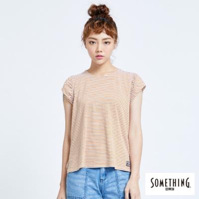 SOMETHING 細條抽皺 短袖T恤-女-土黃色