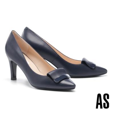 高跟鞋 AS 鏡面烤漆反折帶釦羊皮尖頭高跟鞋-藍