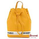 iBrand後背包 時尚潮流感水桶後背包-陽光黃