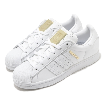 adidas 休閒鞋 Superstar 復古 低筒 女鞋 愛迪達 三葉草 皮革鞋面 點點 貝殼頭 白 金 FW3713