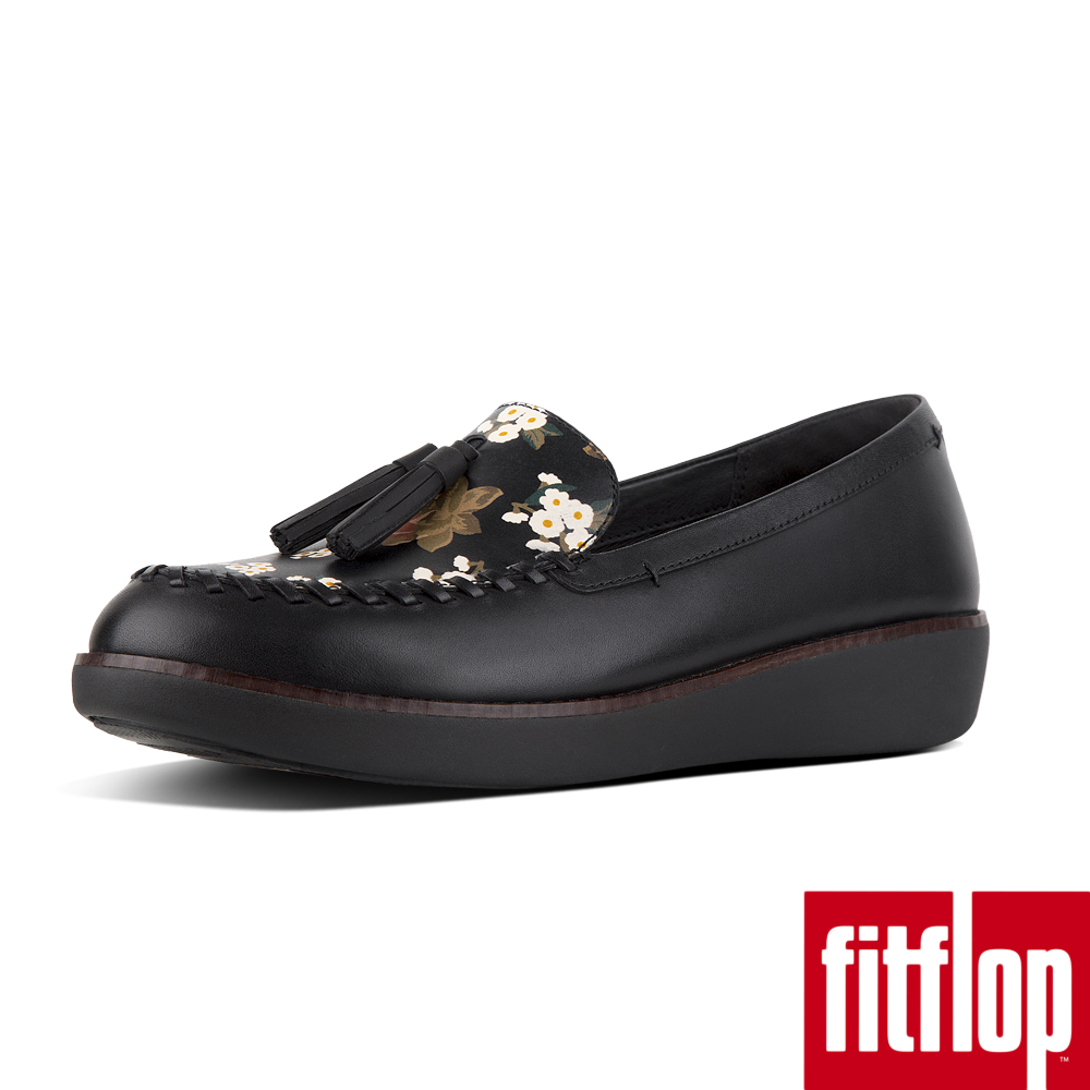 FitFlop PETRINA FLORAL MOCCASIN LOAFERS-黑