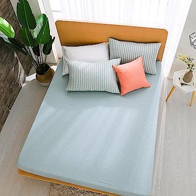 鴻宇 雙人床包枕套組 精梳棉針織 水水綠M2622
