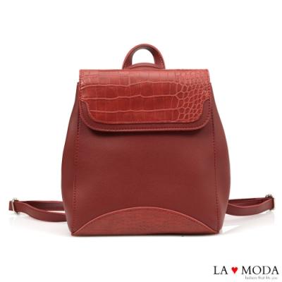 La Moda 品味生活蛇紋壓紋面料多背法大容量斜背後背包(紅)