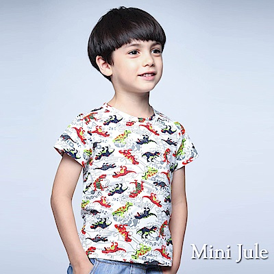Mini Jule 童裝 上衣 紅綠恐龍框線短袖棉T(白)