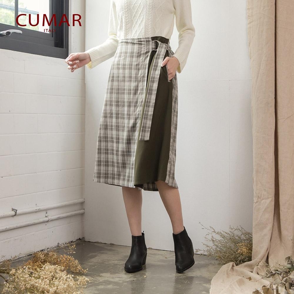 【CUMAR】日系格紋拼接-長褲(二色)