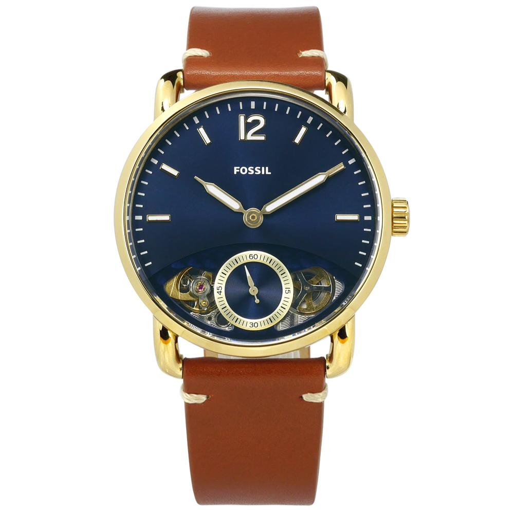 FOSSIL Commuter 機械錶自動上鍊鏤空真皮手錶-藍x金框x咖啡/42mm