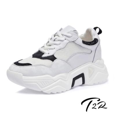 T2R-正韓空運-透氣網布隱形內增高厚底老爹鞋-增高8公分-白