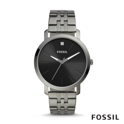 FOSSIL LUXLUTHER 極簡設計黑面鍊帶男錶-銀灰 44MM BQ2419