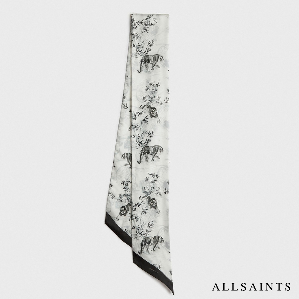 ALLSAINTS STRENGTH 中式虎風圖騰印花絲巾-白 product image 1