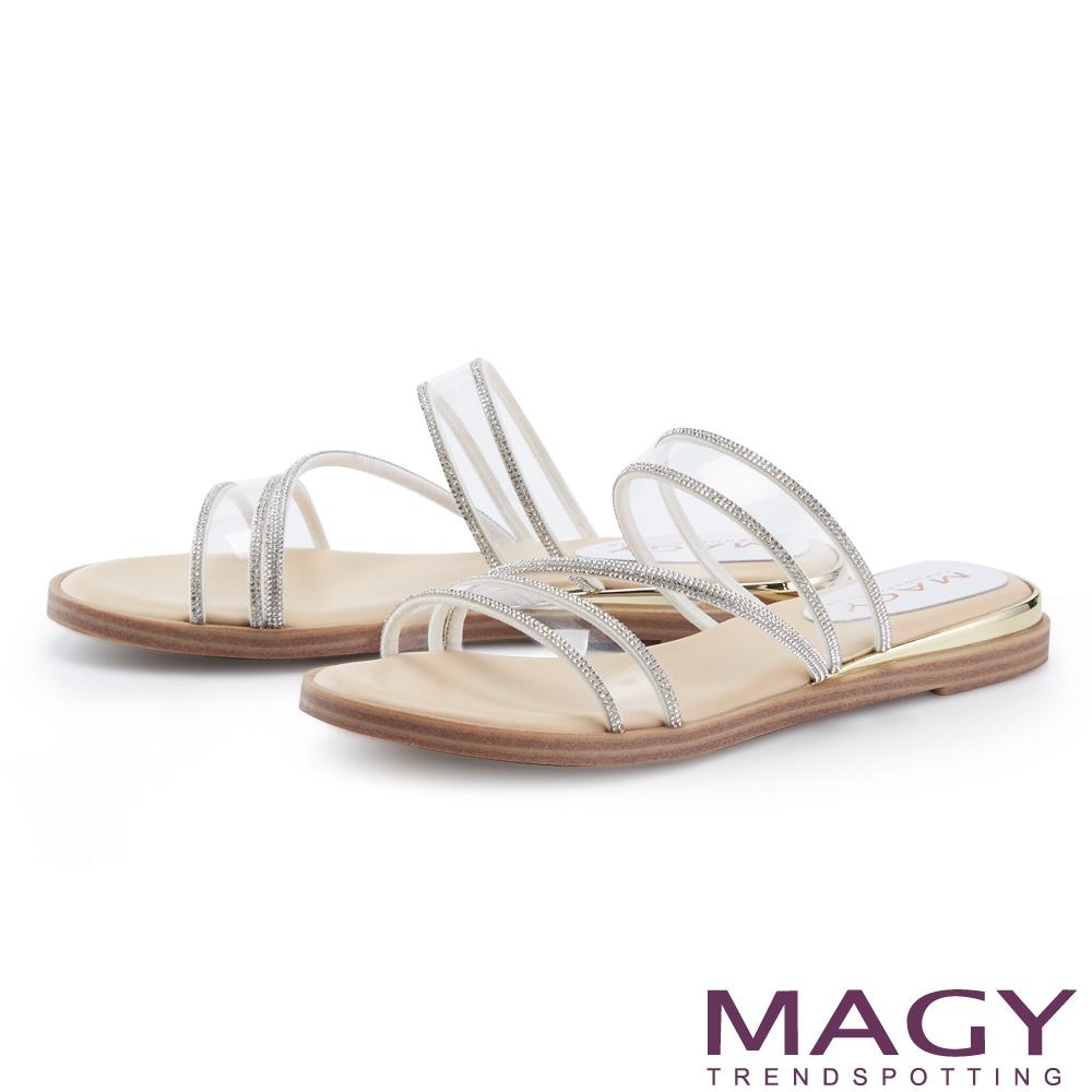 MAGY 鑽飾滾邊透明片平底 女 拖鞋 白色