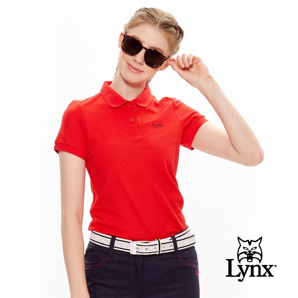 【Lynx Golf】女款經典配色Logo繡字短袖POLO衫-紅色