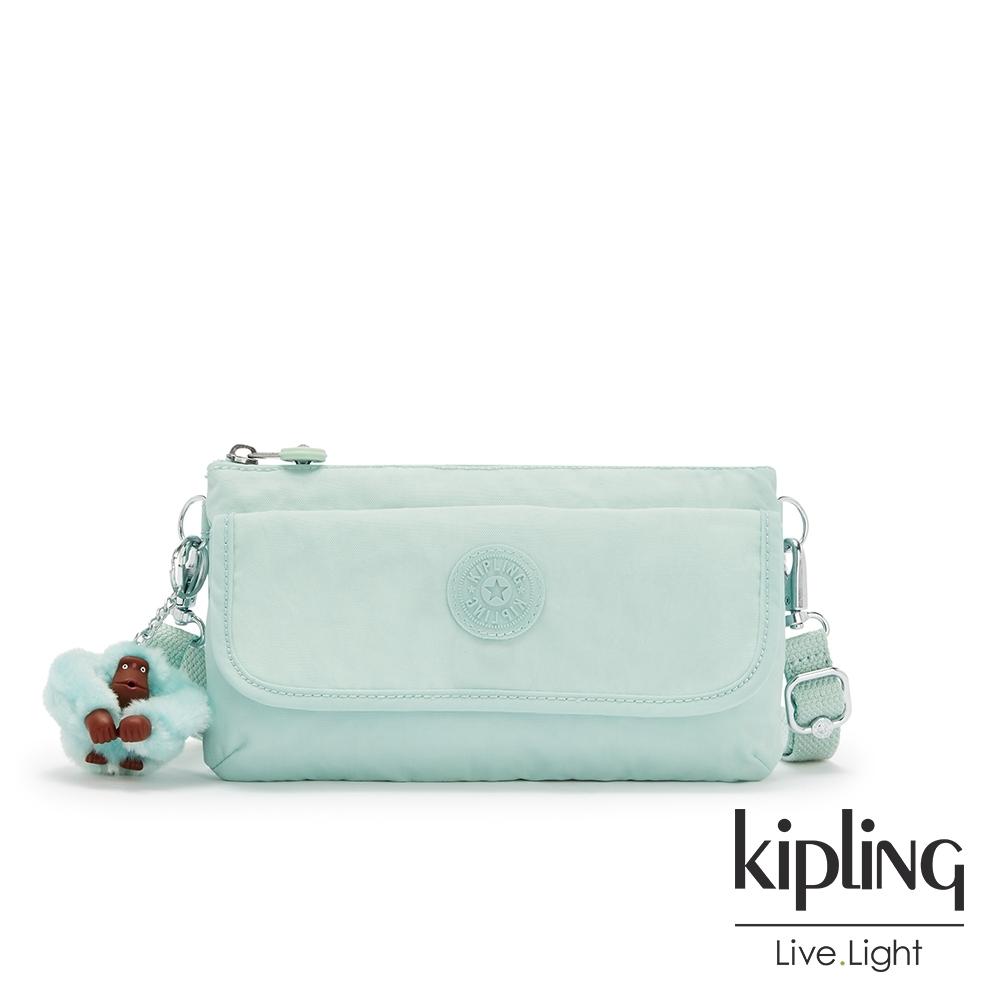 Kipling 神秘薄荷藍翻蓋肩背側背包-VECKA STRAP